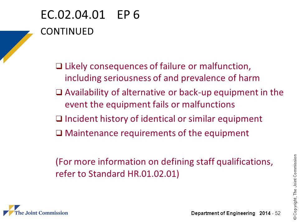 EC.02.04.01 EP 6 continued Likely consequences of failure or malfunction, including seriousness of and prevalence of harm.