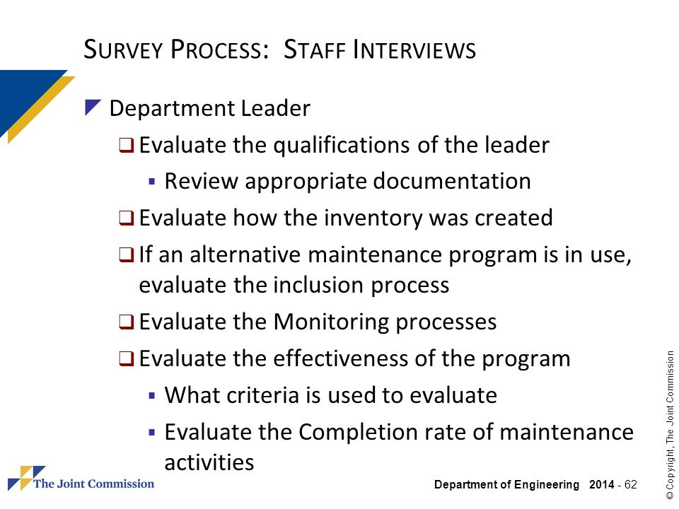 Survey Process: Staff Interviews