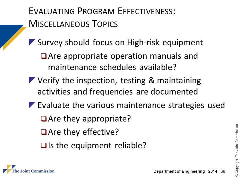 Evaluating Program Effectiveness: Miscellaneous Topics