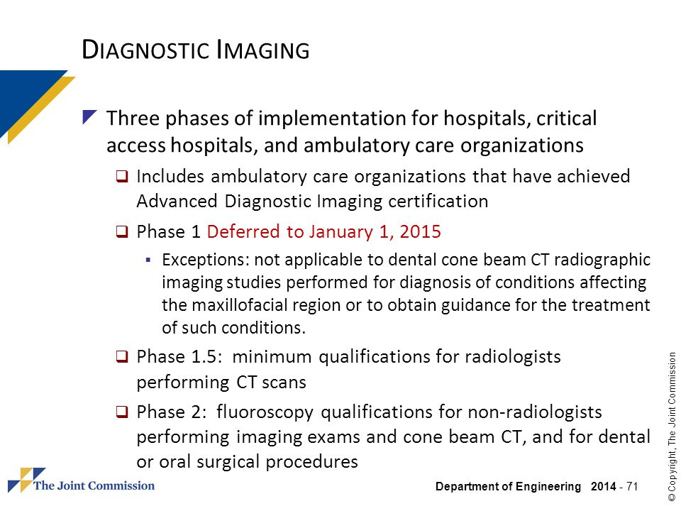 Diagnostic Imaging Three phases of implementation for hospitals, critical access hospitals, and ambulatory care organizations.