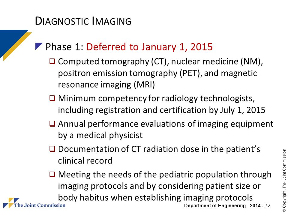 Diagnostic Imaging Phase 1: Deferred to January 1, 2015