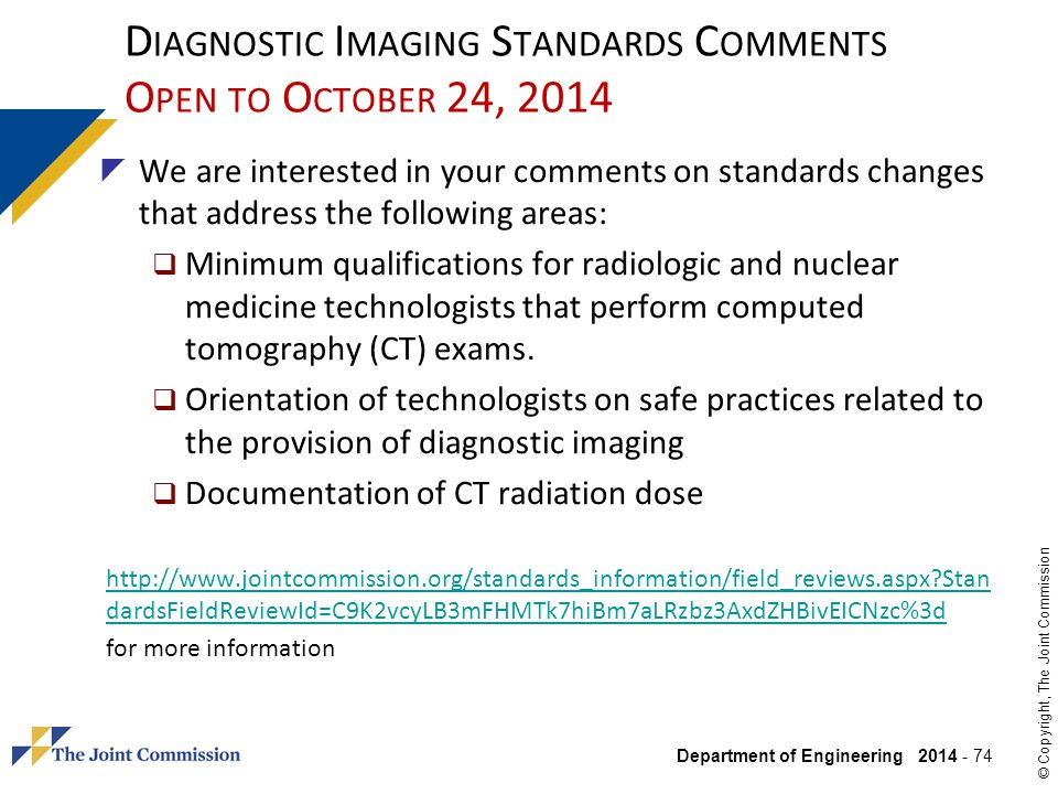 Diagnostic Imaging Standards Comments Open to October 24, 2014