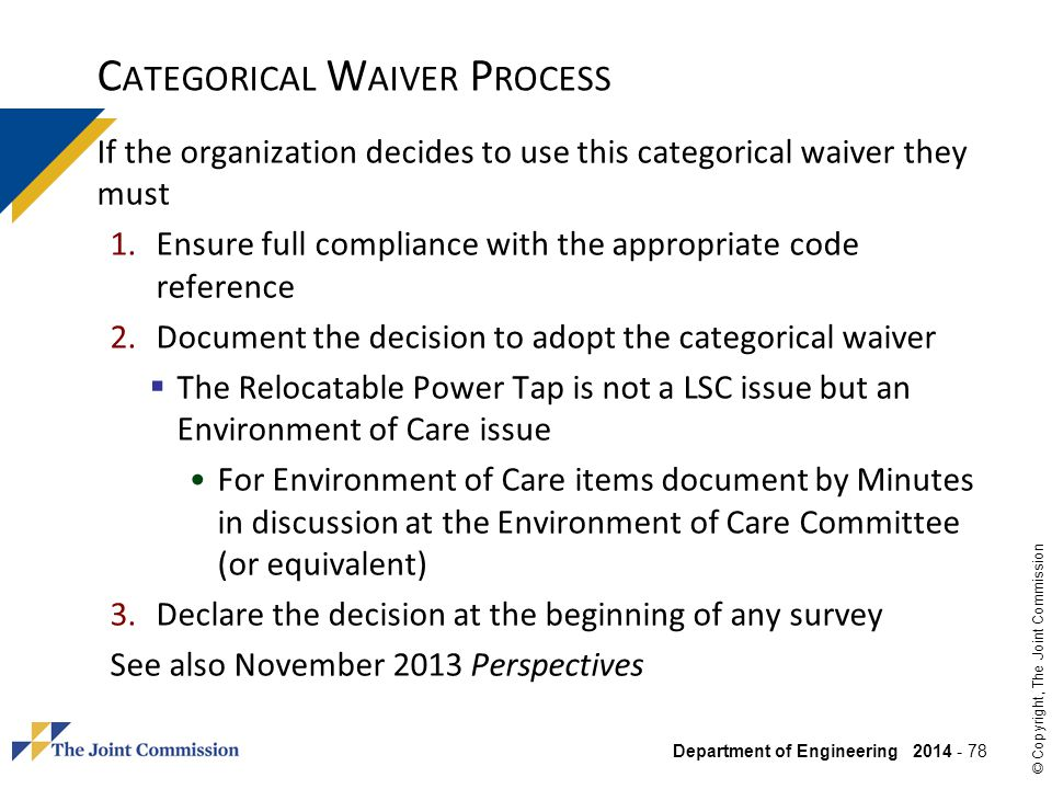 Categorical Waiver Process