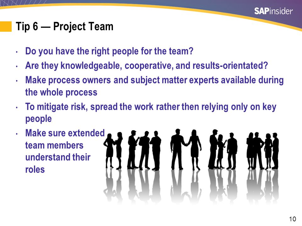 Tip 6 — Project Team (cont.)