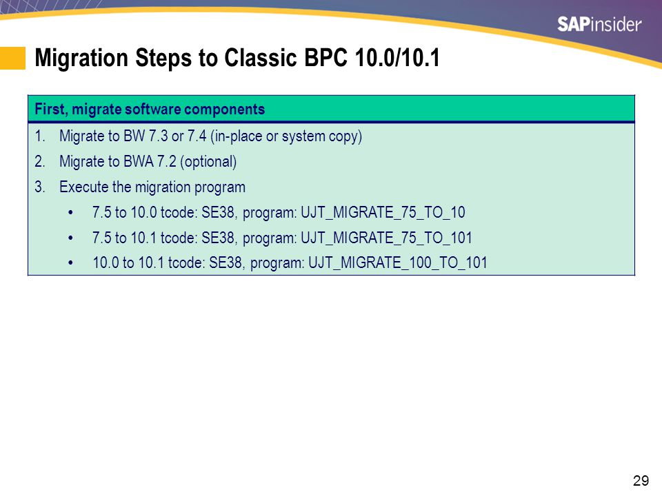 Migration Steps to Classic BPC 10.0/10.1 (cont.)