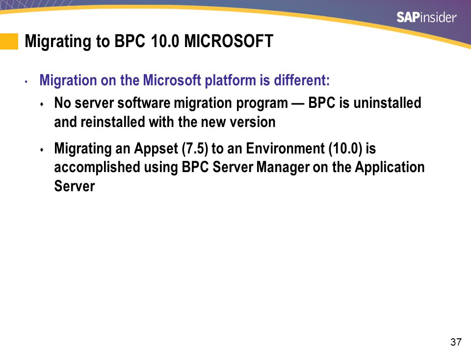 Migration Steps to BPC 10.0 MS