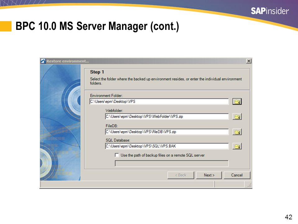 BPC 10.0 MS Server Manager (cont.)