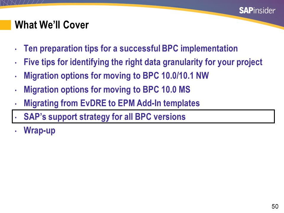 SAP's Support Strategy for All BPC Versions