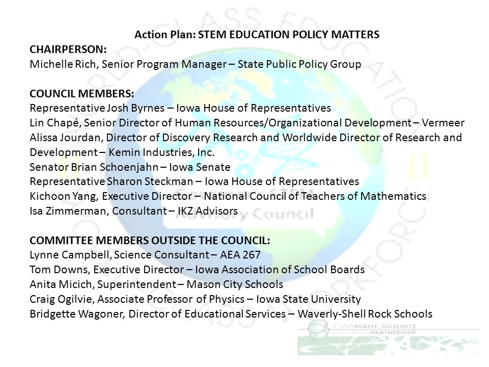 Action Plan: STEM EDUCATION POLICY MATTERS