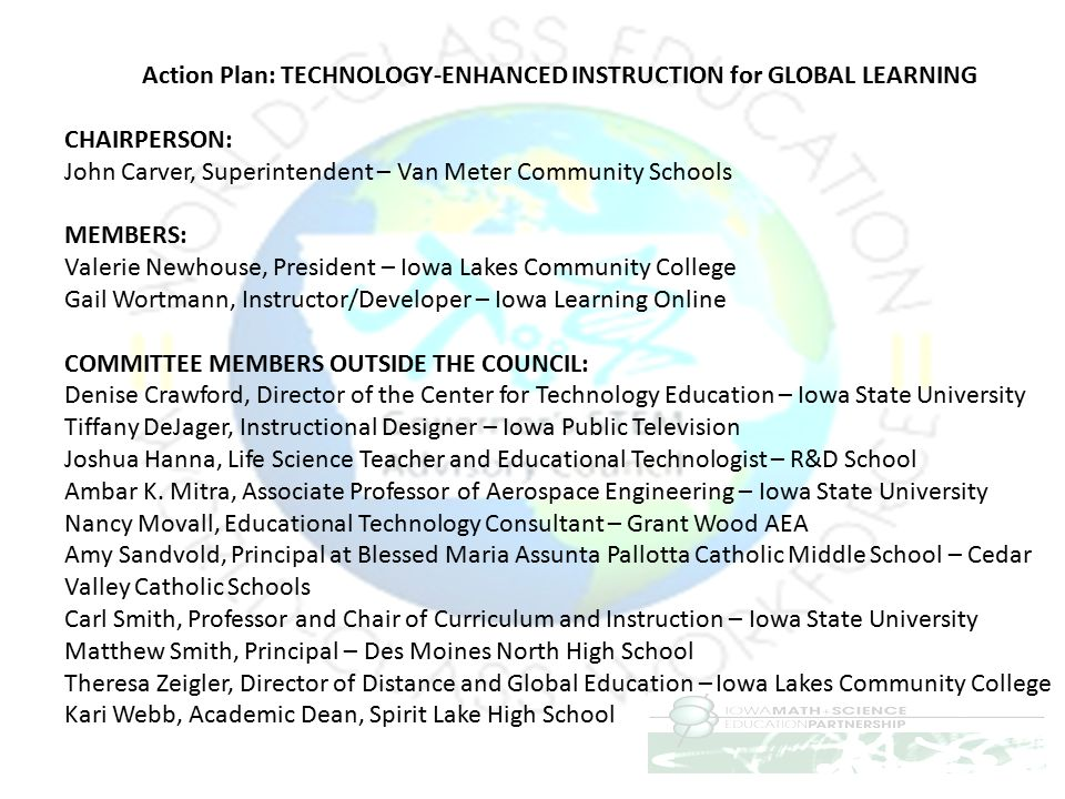 Action Plan: TECHNOLOGY-ENHANCED INSTRUCTION for GLOBAL LEARNING
