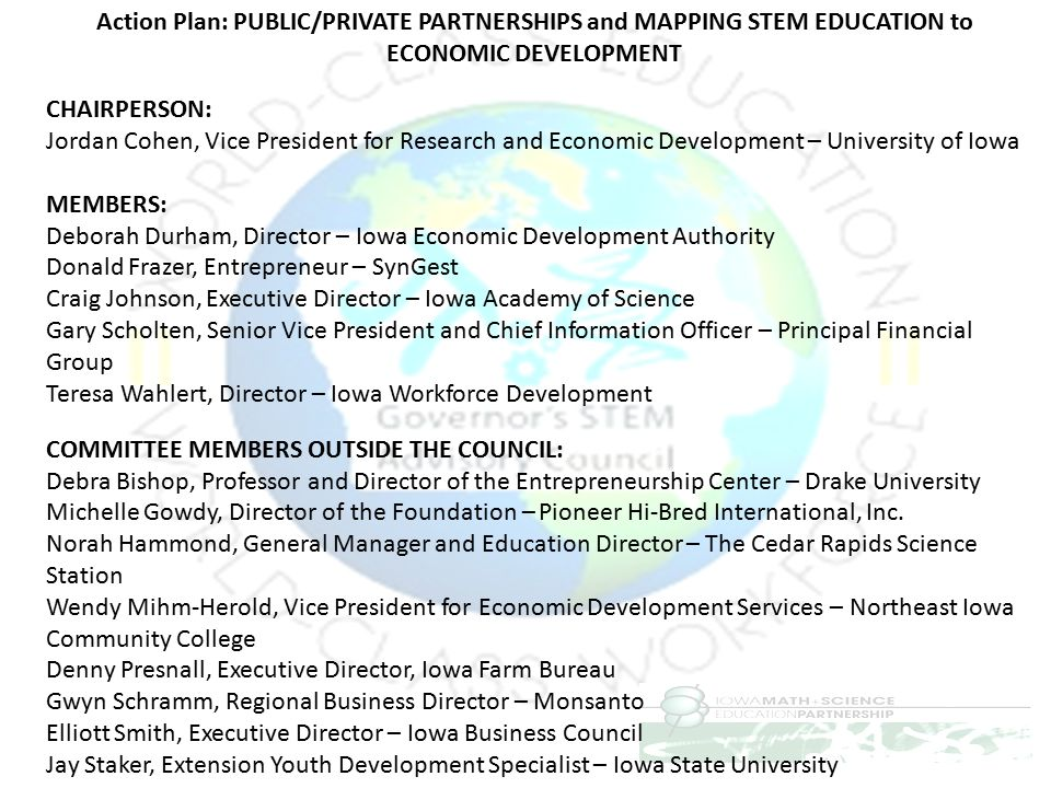 Action Plan: PUBLIC/PRIVATE PARTNERSHIPS and MAPPING STEM EDUCATION to