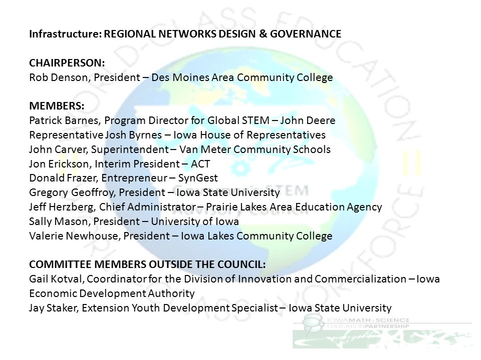 Infrastructure: REGIONAL NETWORKS DESIGN & GOVERNANCE CHAIRPERSON: