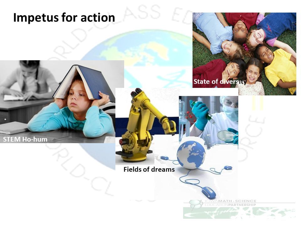 Impetus for action State of diversity STEM Ho-hum Fields of dreams