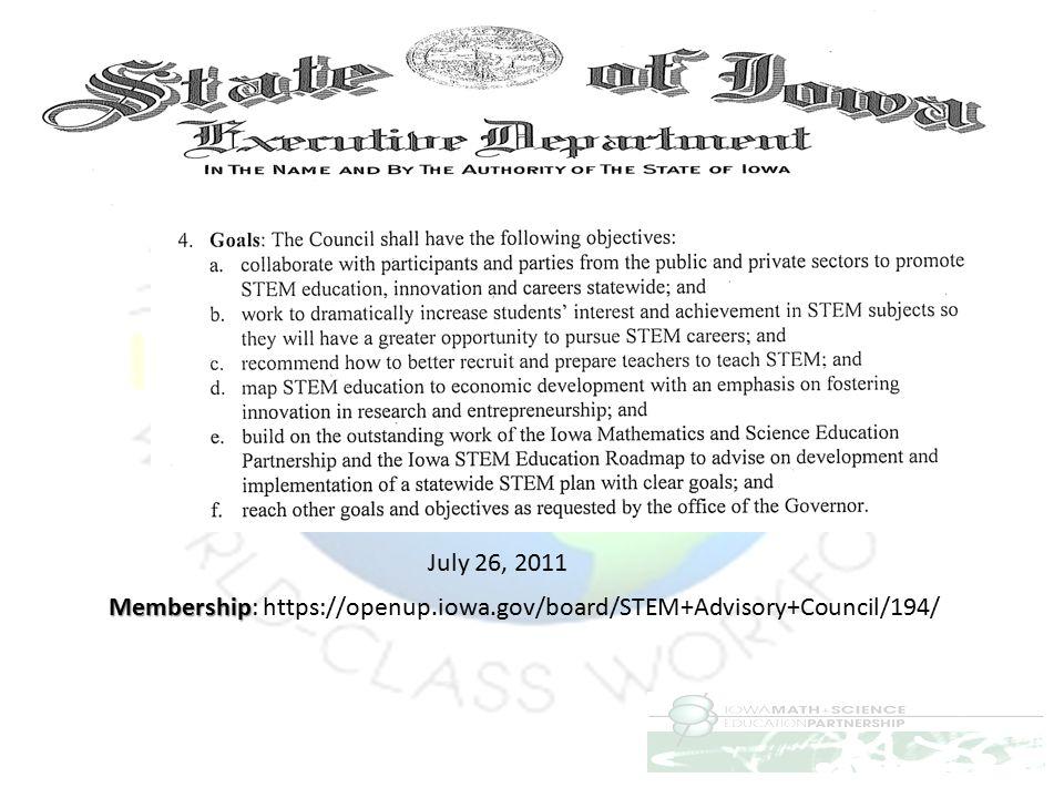 Membership: https://openup.iowa.gov/board/STEM+Advisory+Council/194/