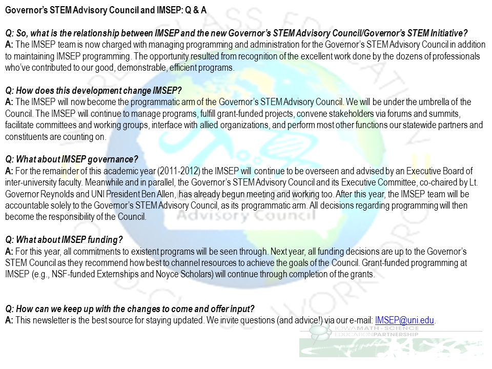 Governor's STEM Advisory Council and IMSEP: Q & A