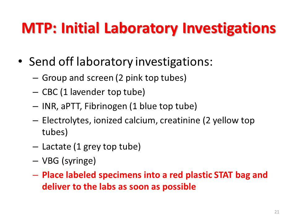 MTP: Initial Laboratory Investigations