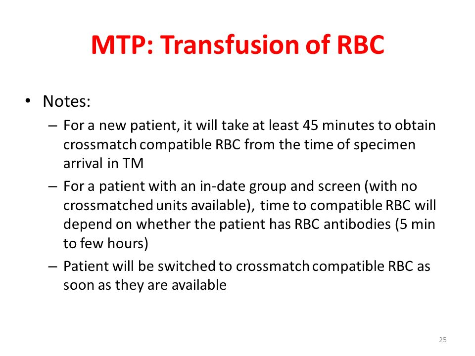 MTP: Transfusion of RBC