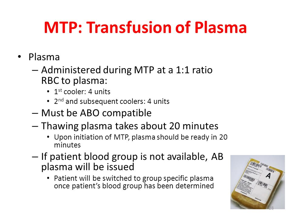 MTP: Transfusion of Plasma