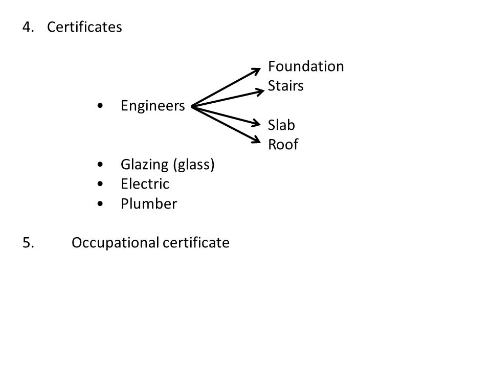 Certificates Foundation. Stairs. • Engineers. Slab. Roof. • Glazing (glass) • Electric. • Plumber.