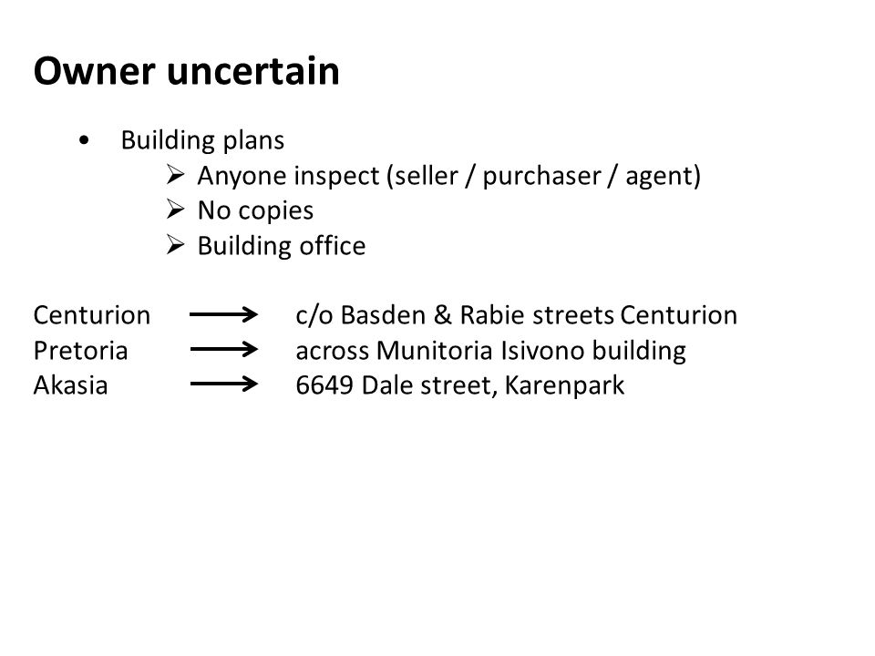 Owner uncertain • Building plans