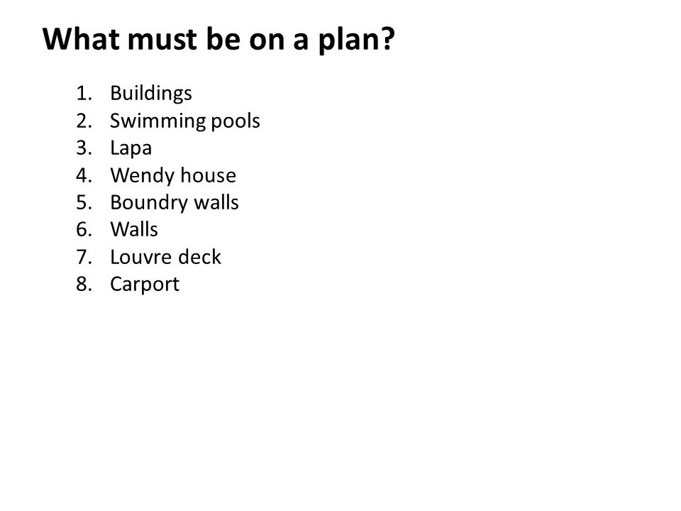 What must be on a plan 1. Buildings 2. Swimming pools 3. Lapa