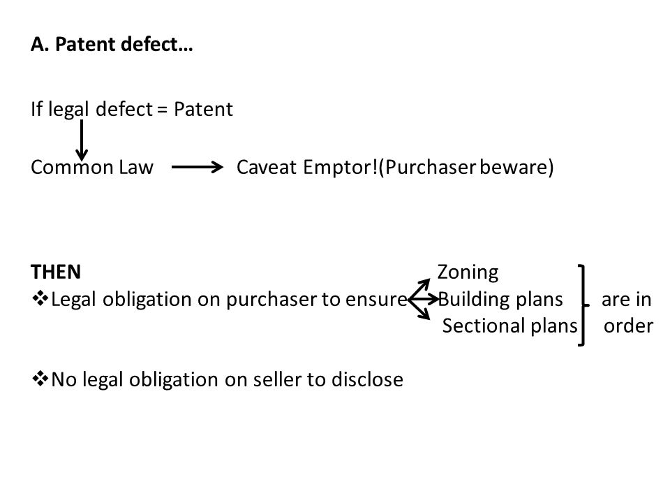 A. Patent defect… If legal defect = Patent. Common Law Caveat Emptor!(Purchaser beware) THEN Zoning.