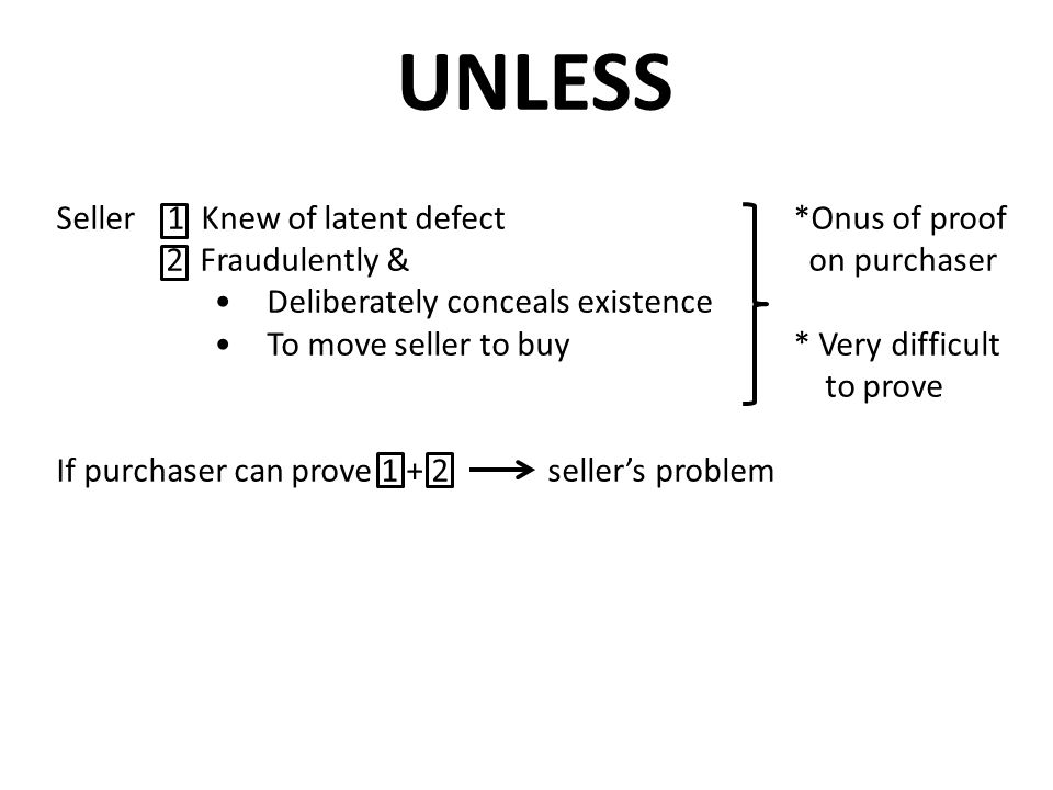 UNLESS Seller 1 Knew of latent defect *Onus of proof