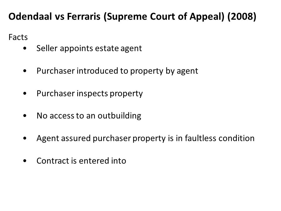 Odendaal vs Ferraris (Supreme Court of Appeal) (2008)
