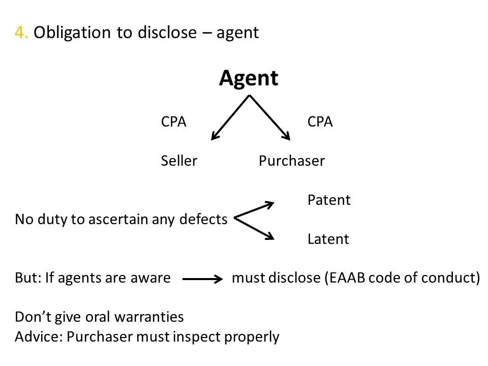 Agent 4. Obligation to disclose – agent CPA CPA Seller Purchaser