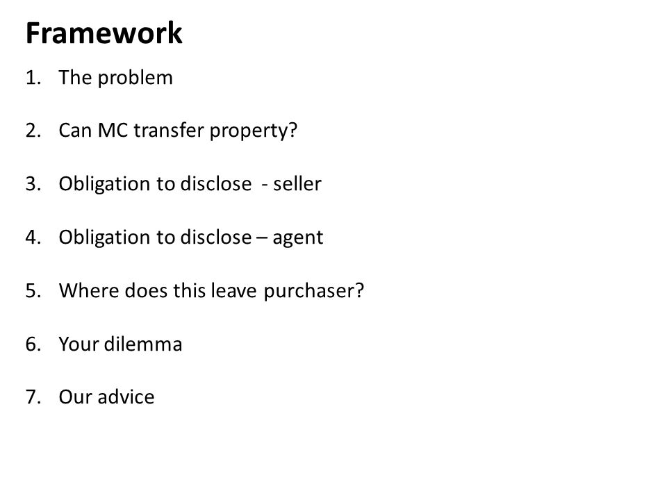 Framework The problem Can MC transfer property