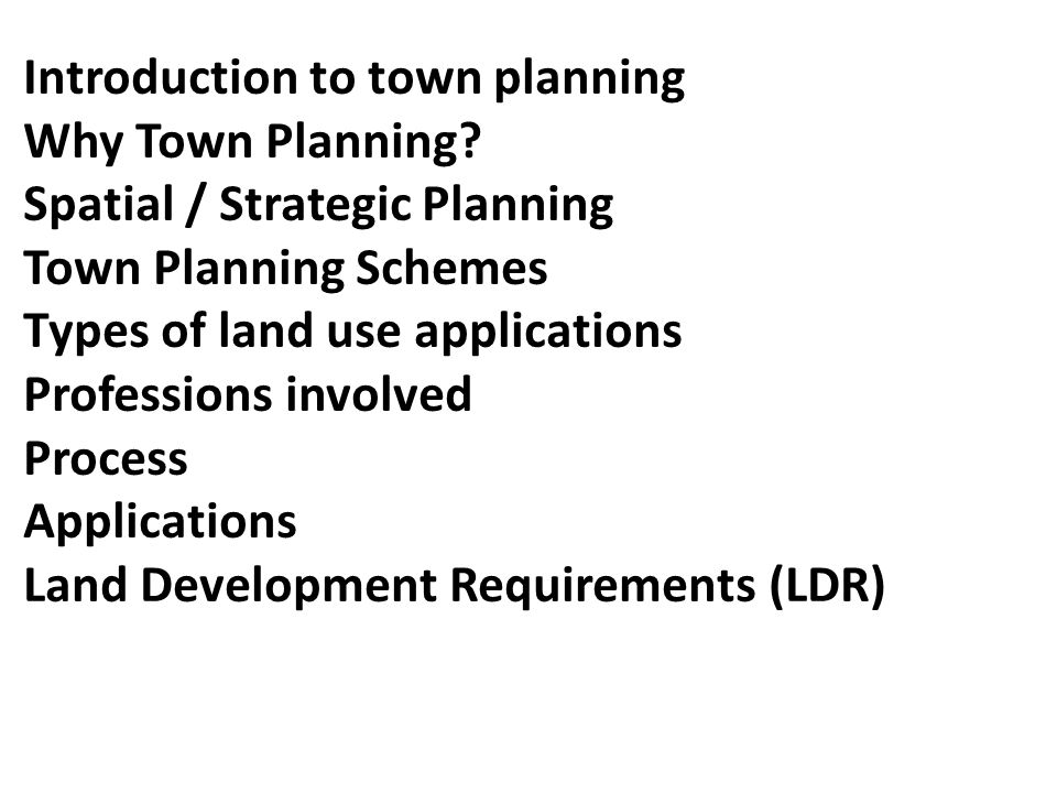 Introduction to town planning