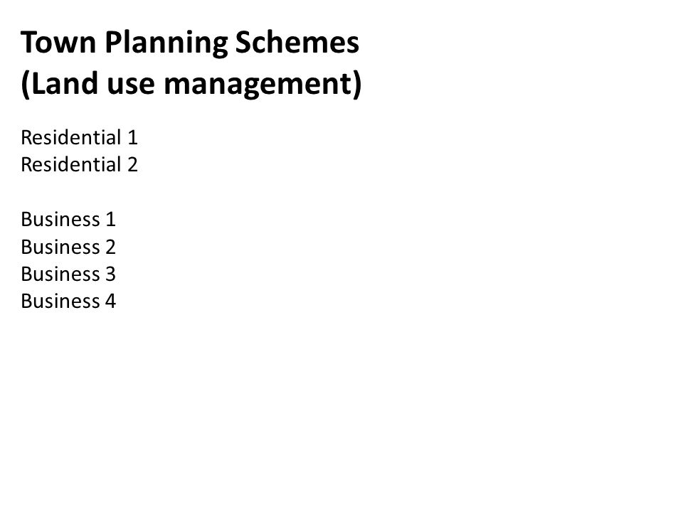 Town Planning Schemes (Land use management) Residential 1