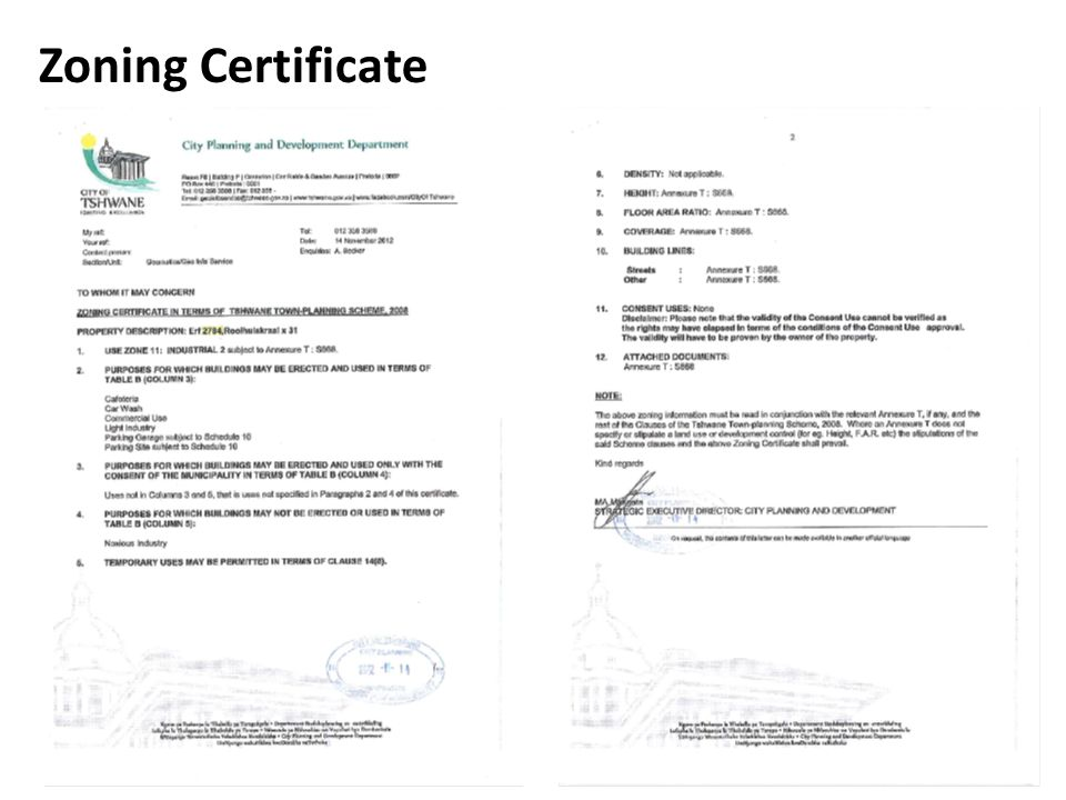 Zoning Certificate