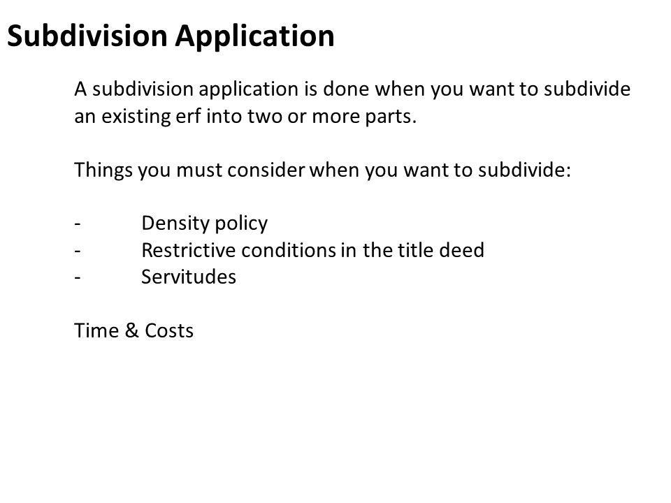 Subdivision Application