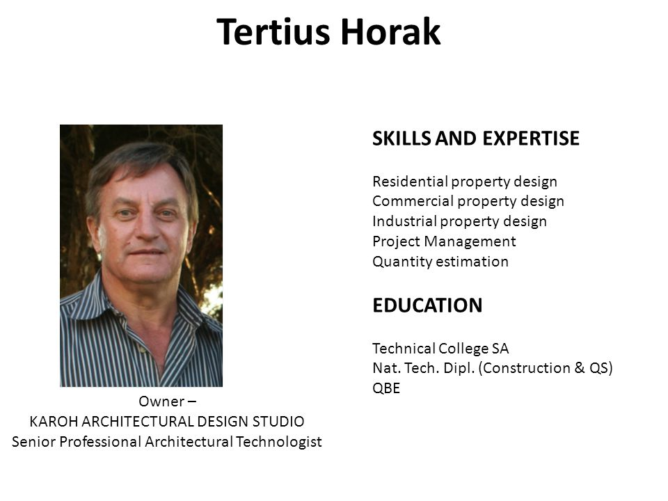 Tertius Horak SKILLS AND EXPERTISE EDUCATION