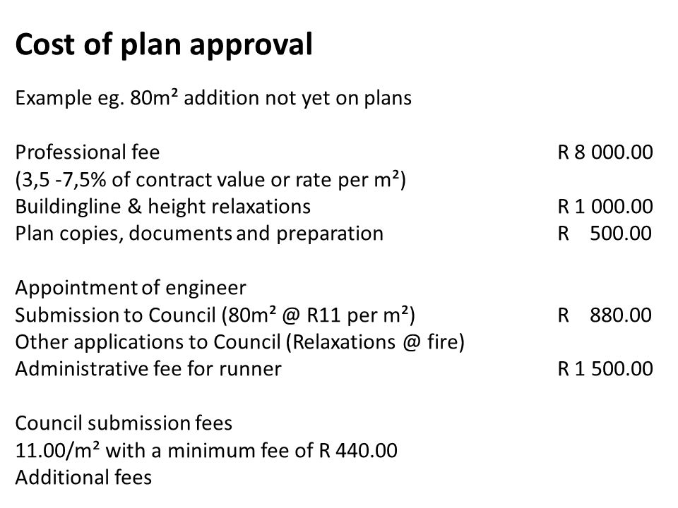 Cost of plan approval Example eg. 80m² addition not yet on plans