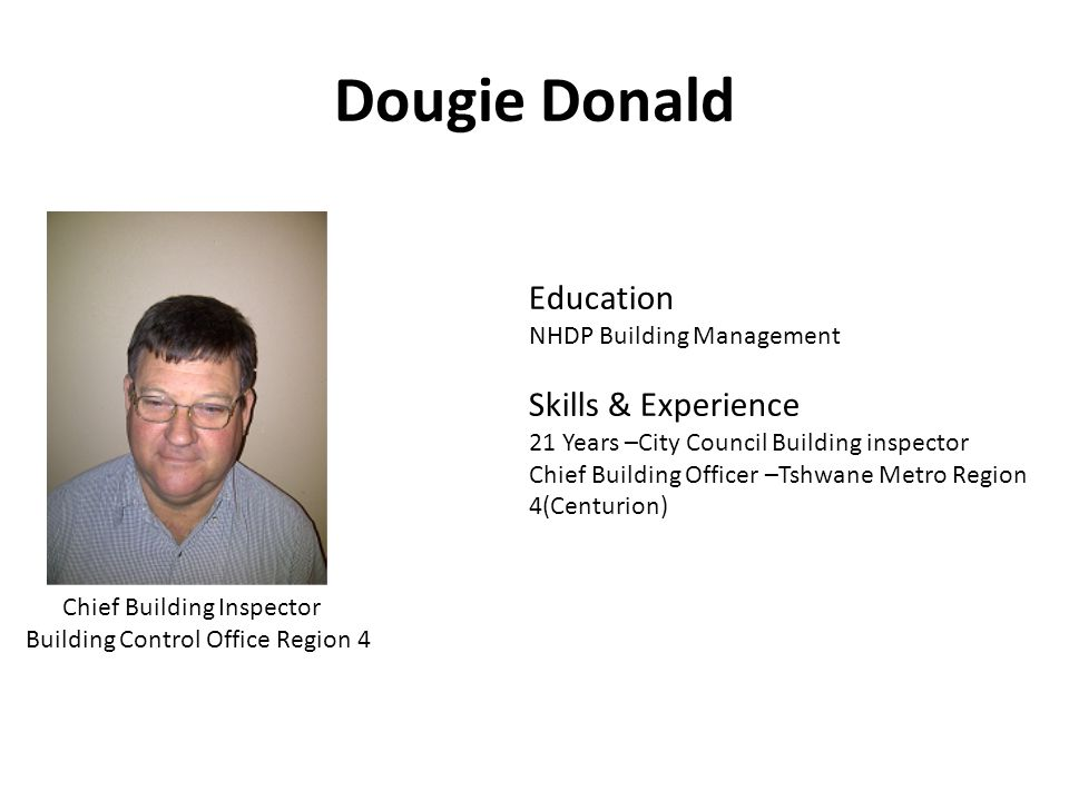 Dougie Donald Education Skills & Experience NHDP Building Management