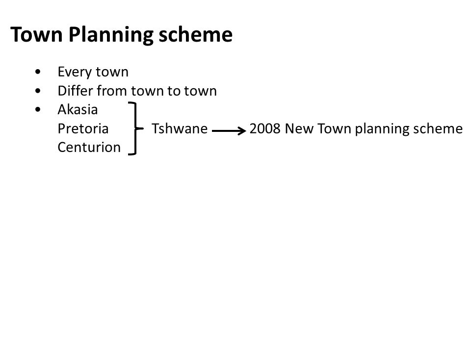 Town Planning scheme • Every town • Differ from town to town • Akasia
