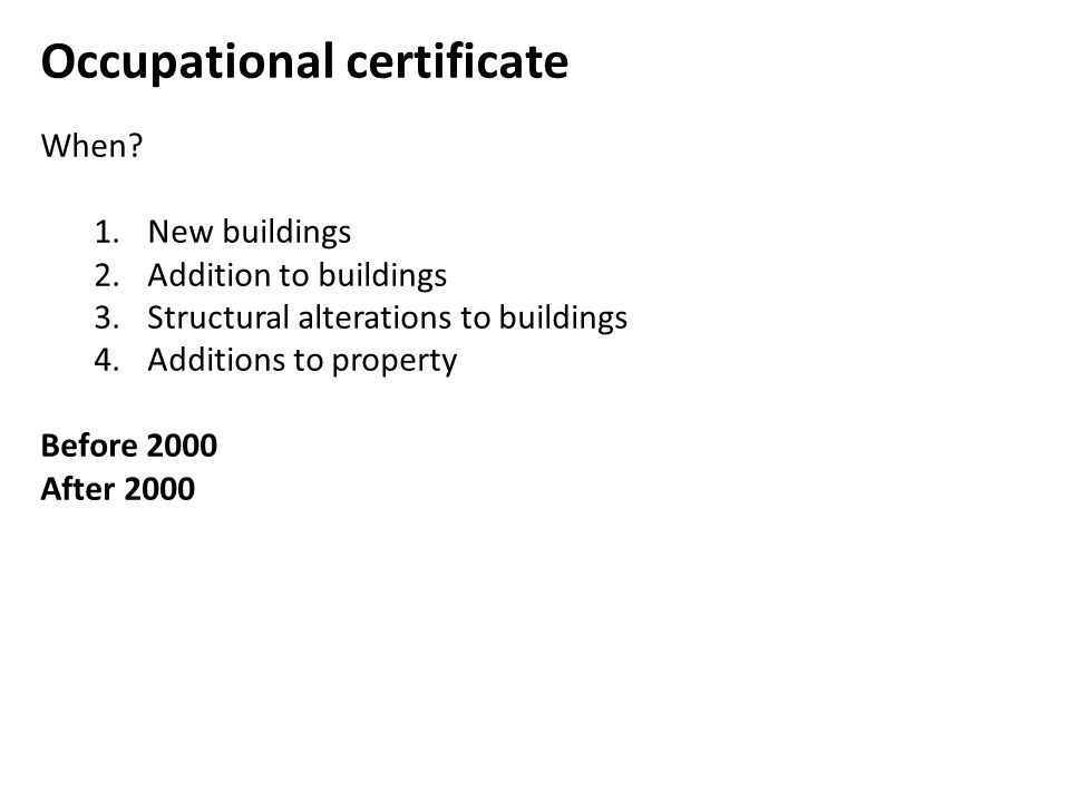 Occupational certificate