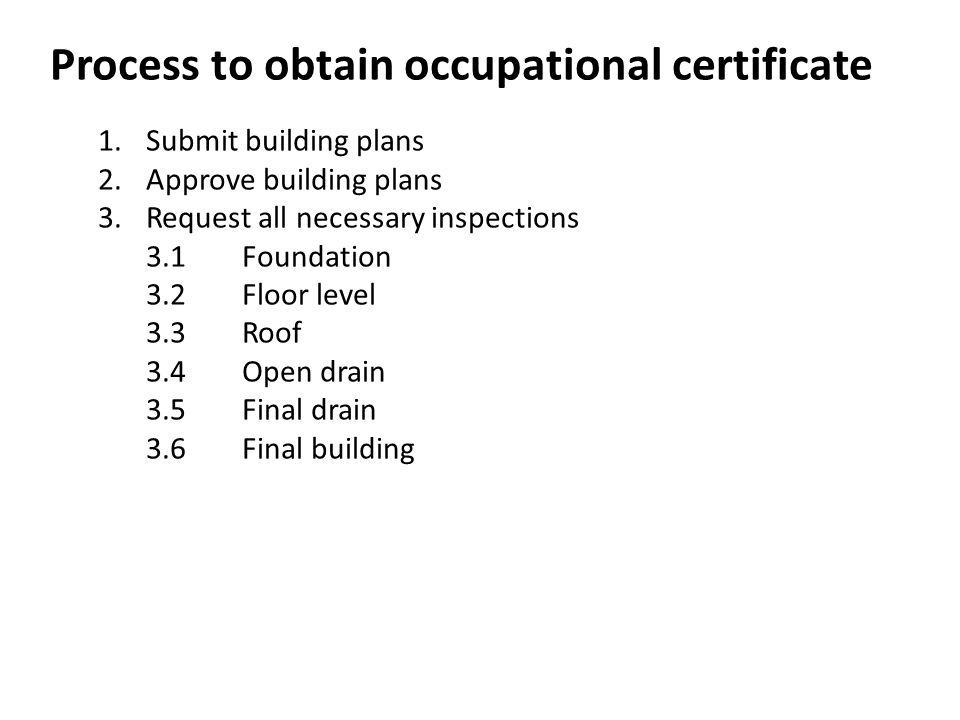 Process to obtain occupational certificate