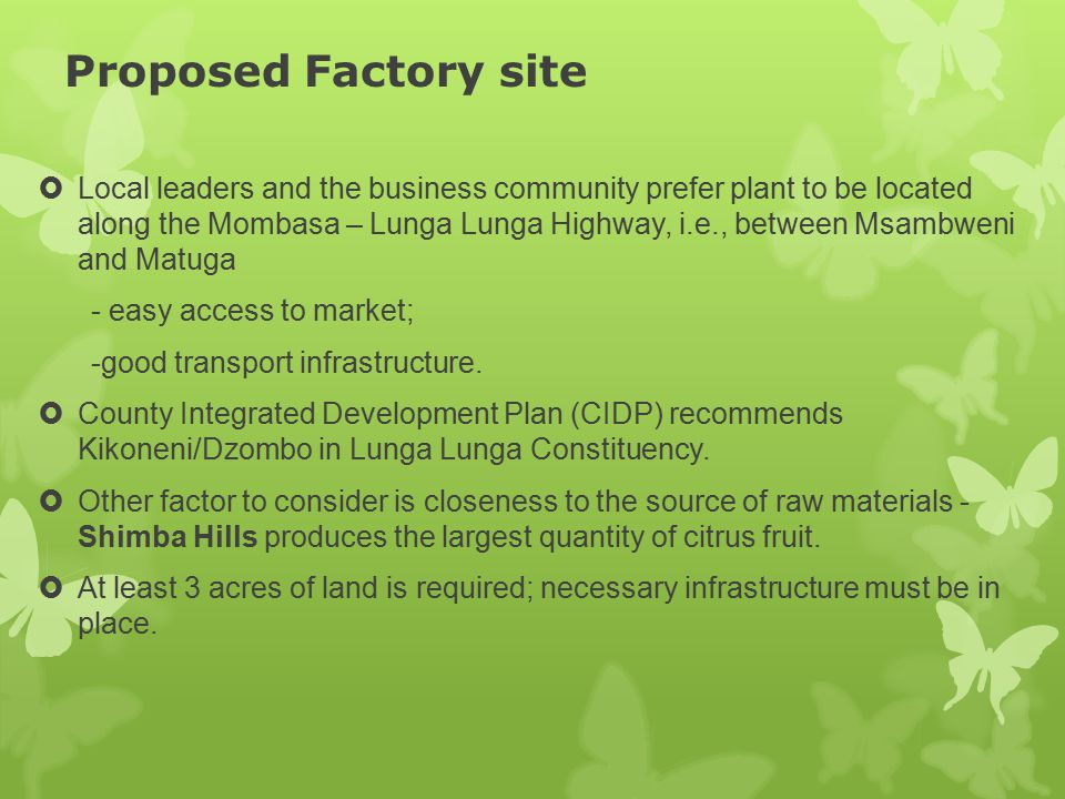 Proposed Factory site