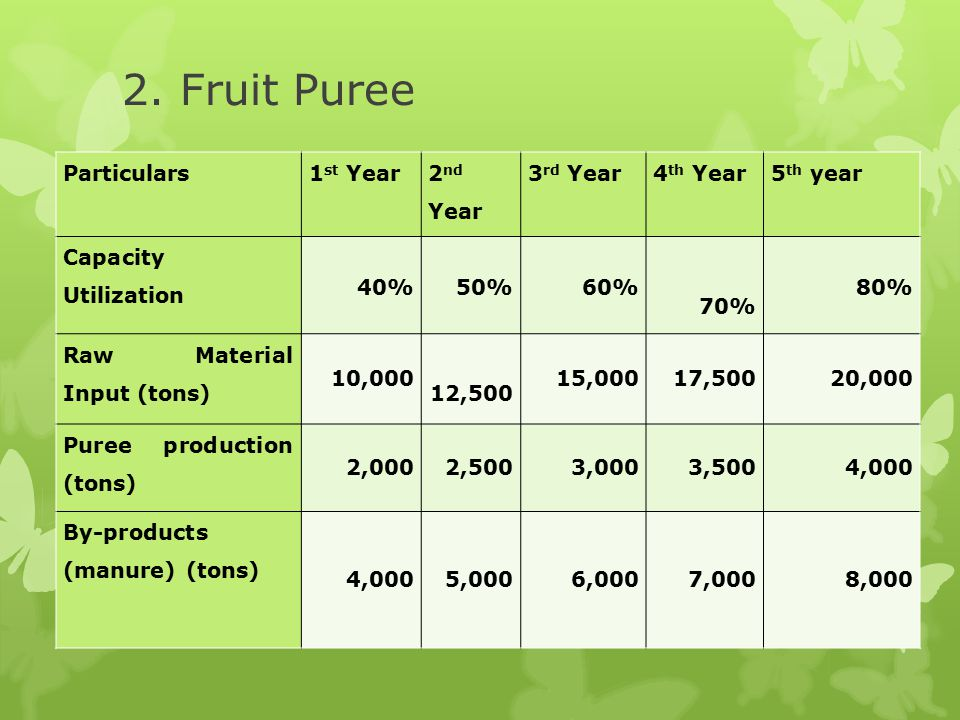 2. Fruit Puree Particulars 1st Year 2nd Year 3rd Year 4th Year