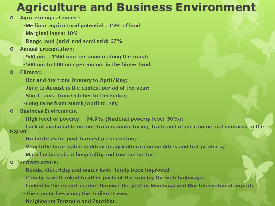 Agriculture and Business Environment