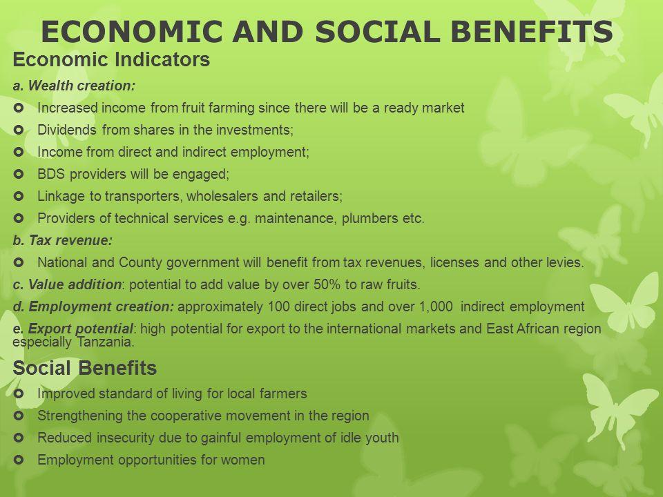 ECONOMIC AND SOCIAL BENEFITS