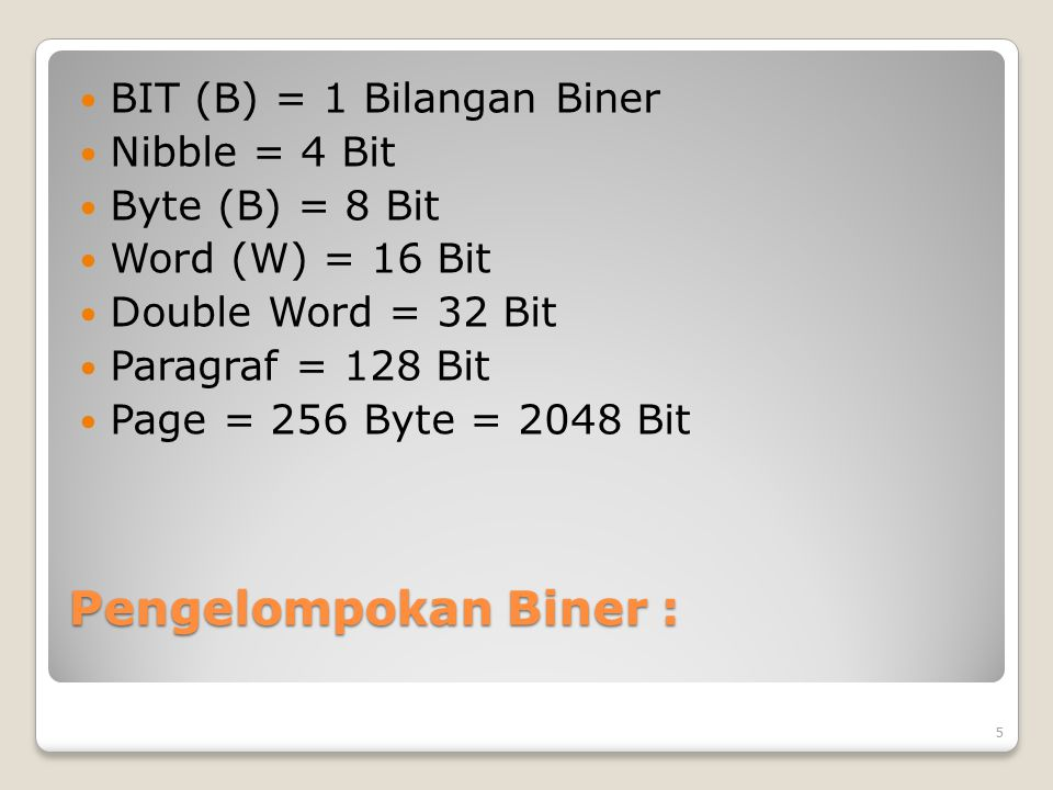 Pengelompokan Biner : BIT (B) = 1 Bilangan Biner Nibble = 4 Bit