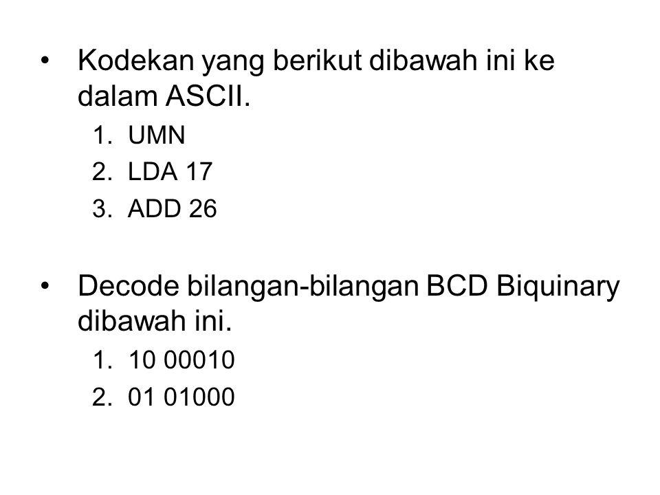 Kodekan yang berikut dibawah ini ke dalam ASCII.