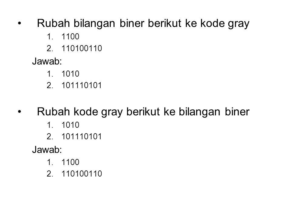 Rubah bilangan biner berikut ke kode gray