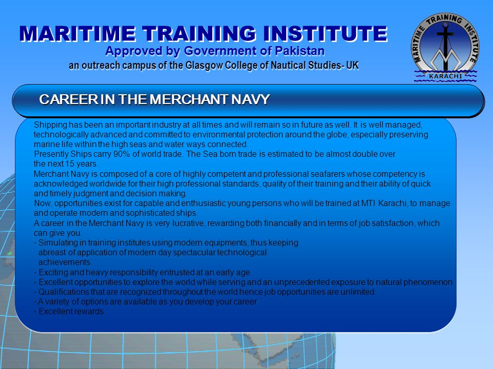 CAREER IN THE MERCHANT NAVY