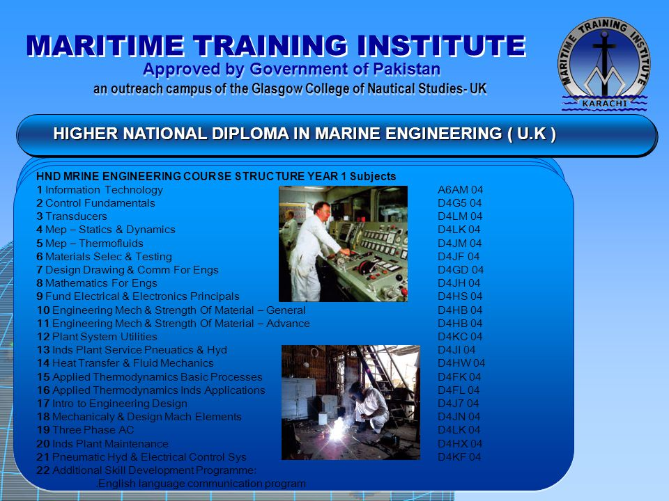 HIGHER NATIONAL DIPLOMA IN MARINE ENGINEERING ( U.K )