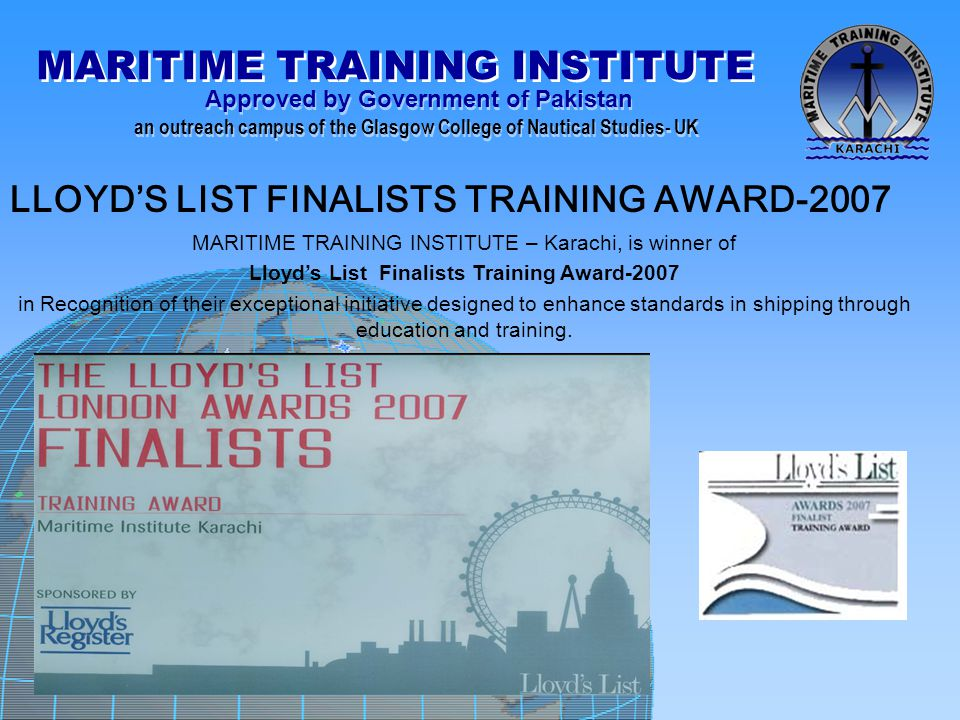 LLOYD'S LIST FINALISTS TRAINING AWARD-2007